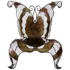 Monumental Artist Sculpted Iron Butterfly Chair