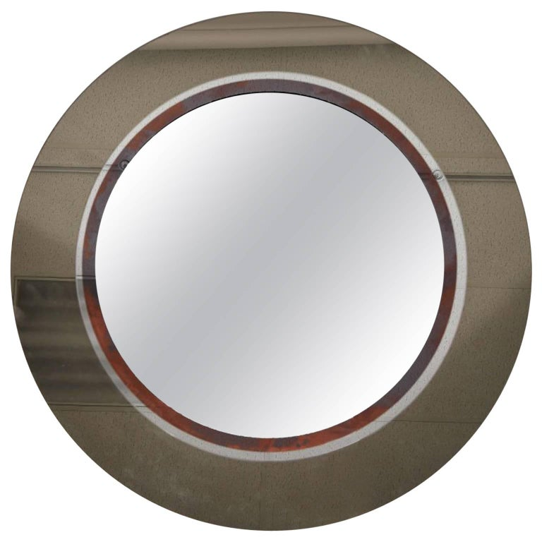 Large Smoked Glass with Patinated Ring Circular Mirror, Circa 1960