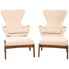 Mid-Century Modern Set of Adrian Pearsall Wingback Chairs and Ottomans