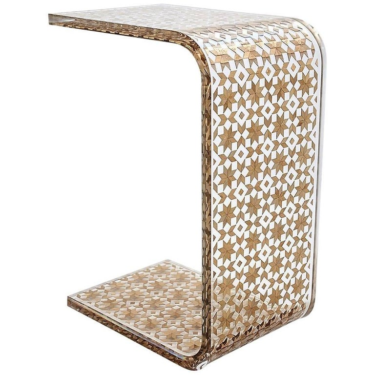 C Resin Side Table, Contemporary Side Table For Sale
