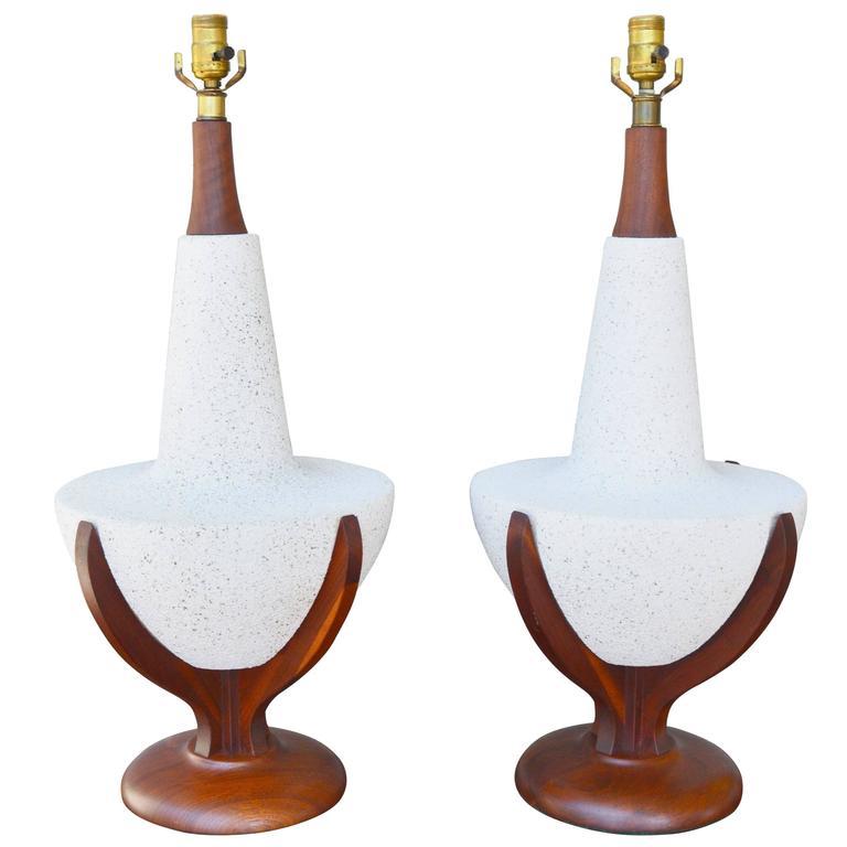 Pair of Mid-Century Walnut Speckle Ceramic Large Lamps