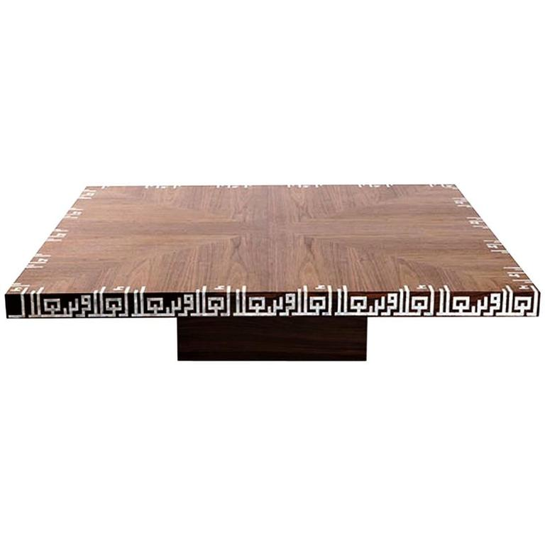Calligraphy Low Coffee Table, Walnut Coffee Table With Mother Of Pearl  Inlay 1