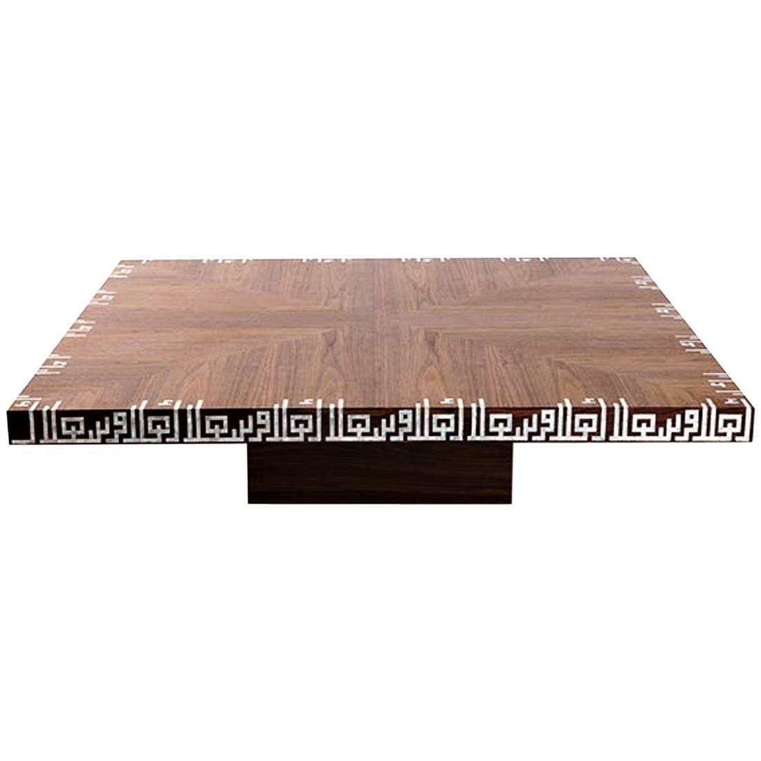 Calligraphy Low Coffee Table, Walnut Coffee Table with Mother-of ...