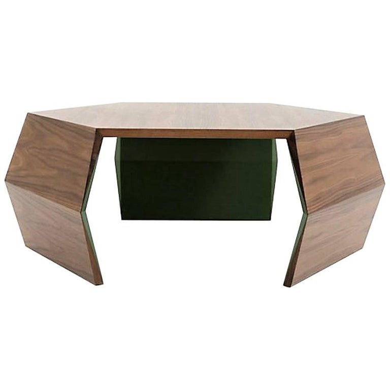 Origami Square Coffee Table, Contemporary Coffee Table in Walnut and Lacquer