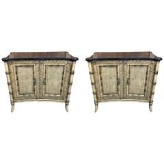 Sheik Pair of Regency Style Faux Bamboo Cabinets by Maitland Smith