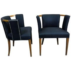 Pair of Club Chairs with Pierced Backs in the Manner of Robsjohns-Gibbings