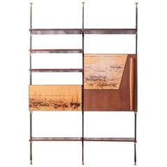 Storage Unit/ Bookcase in Solid Wood with Metal and Brass Details