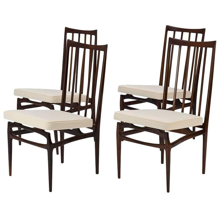 Giuseppe Scapinelli 1950s six dining chairs set in Jacaranda and Fabric, Brazil