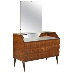 Chest of Drawers with Mirror, Rosewood Veneer, Inlaid Floral Decorations