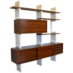 Amma Bookcase Interchangeable Elements Lacquered wood Rosewood Veneer Brass
