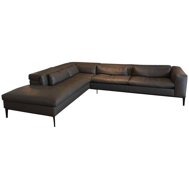 Brown Leather Corner Sofa Rigoletto By Italian Manufacture Cierre 1