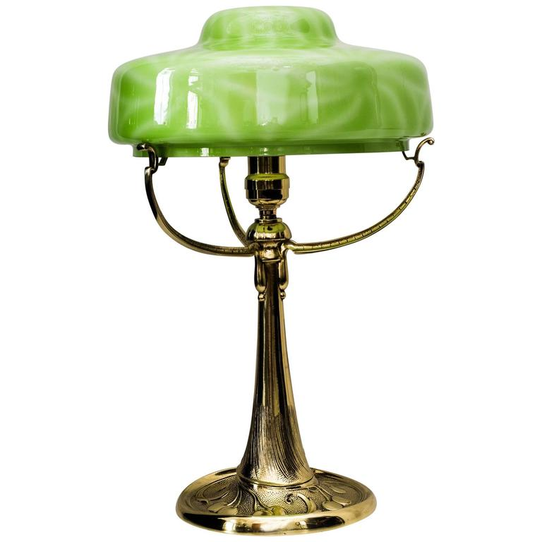 Beautiful Art Nouveau Table Lamp with Original Opaline Glass Shade ...