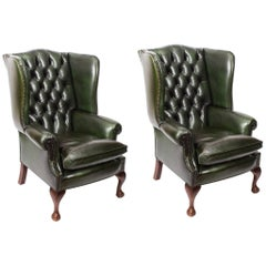 Bespoke Pair of Leather Chippendale Wingback Armchairs Alga Green