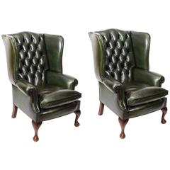 Pair of Leather Chippendale Wingback Armchairs Emerald Green