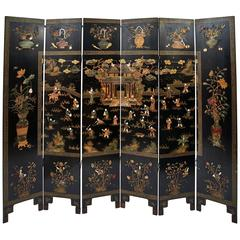 Chinese Lacquered and Stone Inlaid Six-Fold Screen, circa 1920