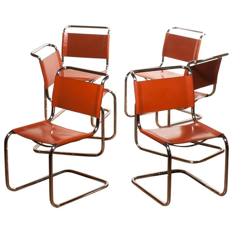 1970s set of six tubular dining chairs by mart stam for fasem in cognac leather for sale at 1stdibs. Black Bedroom Furniture Sets. Home Design Ideas