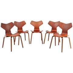 "Set of Five ""Grand Prix"" Chairs by Arne Jacobsen for Fritz Hansen, Denmark, 1957"