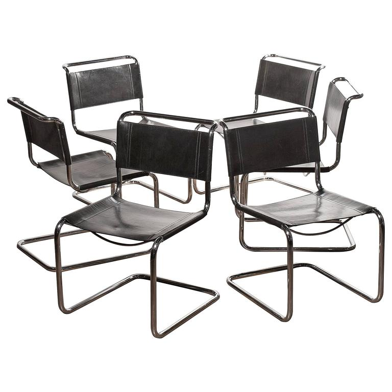 1970s a set of six dining chairs by mart stam for fasem for sale at 1stdibs. Black Bedroom Furniture Sets. Home Design Ideas