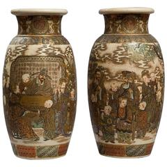 Pair of 19th Century Satsuma Vases Depicting Interior Music and Picnic Scenes