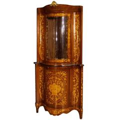 20th Century Dutch Corner Cupboard with Floral Inlay