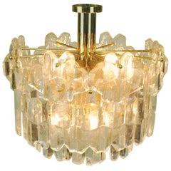 Austrian Modernist Glass and Brass Chandelier Palazzo by J.T. Kalmar