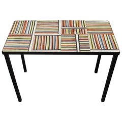 Coffee Table with 'Pyjama' Ceramic Tiles by Roger Capron, Vallauris, circa 1950s