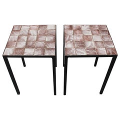 Set of Two Purple Ceramic Tiled Side Tables by Mado Jolain, circa 1950s -1960s