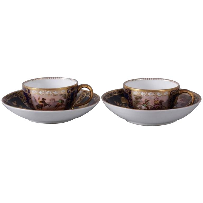 Pair of 19th Century Meissen Cups and Saucers