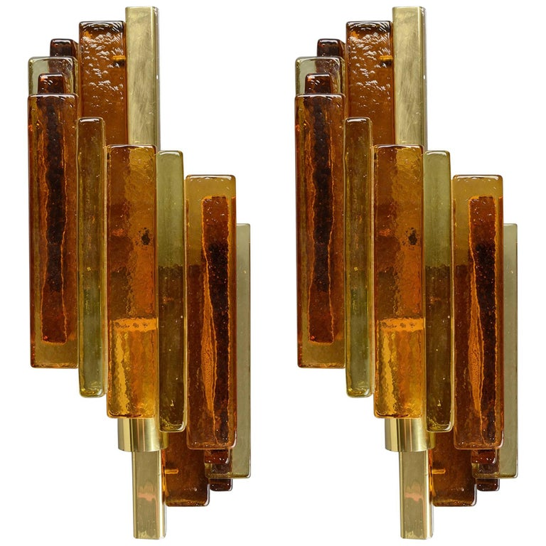 Wall Sconce by Svend Aage Holm Sorensen in Amber Glass and Brass, 1960s For Sale at 1stdibs