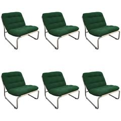 Italian Set of Six Upholstered Chrome Chairs with Original Cushions from 1970s