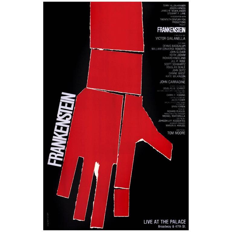 "Large Format Gilbert Lesser Poster from 1984 Broadway Production ""Frankenstein"" 1"