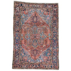 Antique Large Heriz Rug with Soft Colors