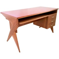Mahogany Writing Desk in the Style of Ico Parisi, Italy, 1950s