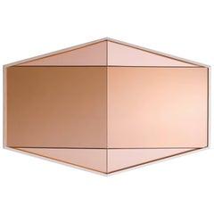 Edelsteinförmiger Pfirsichfarbener Spiegel von Robert Sukrachand, Hergestellt in den USA