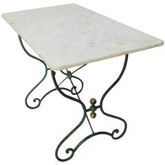 French Bistro Table with Marble Top, (c. 1890s)