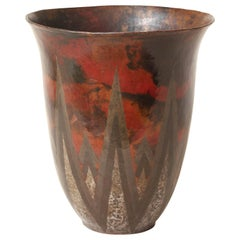 Claudius Linossier French Art Deco Copper and Silver Dinanderie Vase