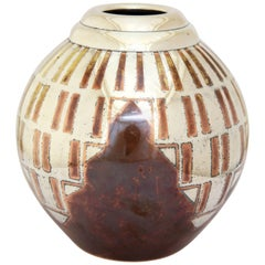 French Art Deco Copper and Silver Dinanderie Vase by Luc Lanel for Christofle
