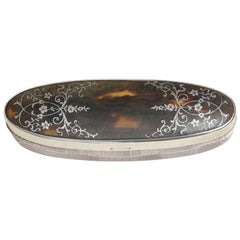 English Art Deco Crystal, Faux Tortoiseshell and Sterling Silver Pique Box