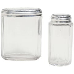 Two English Art Deco Crystal with Sterling Silver Tops Dressing Table Jars