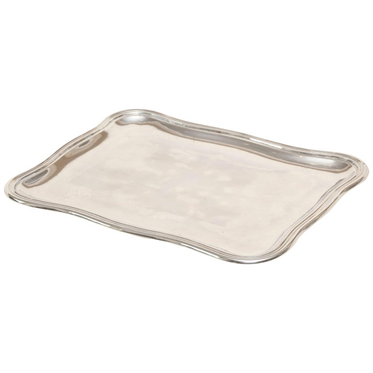 French Art Deco Sterling Silver Small Rectangular Tray