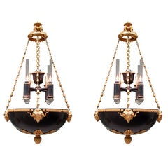 Pair of Early 19th Century English Regency Bronze Argand Pendant Chandeliers
