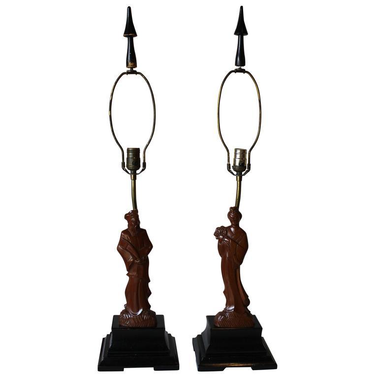 Pair of Yasha Heifetz Chinoiserie Lamps