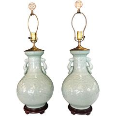 Pair of Chinese Celedon Antique Vases Mounted as Lamps