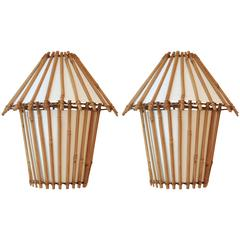 1950s Louis Sognot Pair of Rattan Sconces