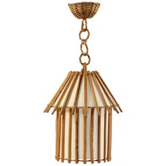 Small Rattan Lantern Attributed to Louis Sognot, 1950