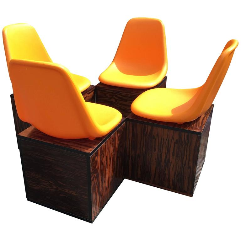 Set Of Four Orange And Exotic Wood Dining Chairs By O.F. Pollak For Sulo  For Sale