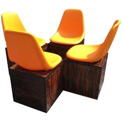 Set of Four Orange and Exotic Wood Dining Chairs by O.F. Pollak for Sulo