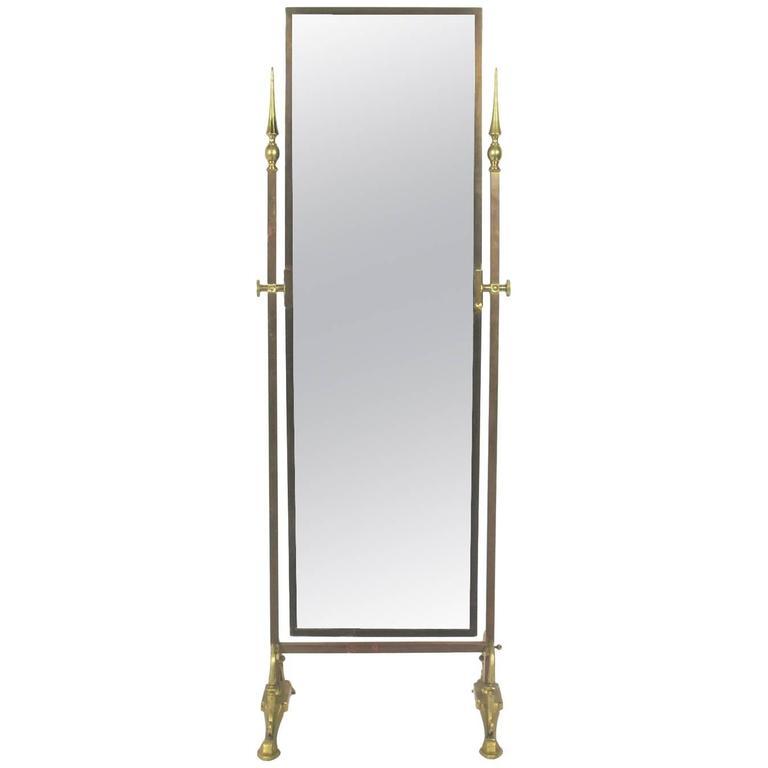 Elegant Brass Cheval Dressing Mirror