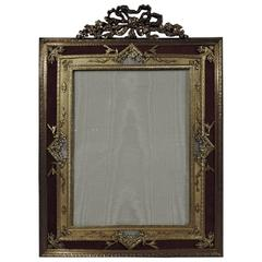 Large Antique Rococo Gilt Bronze and Mother-of-Pearl Picture Frame