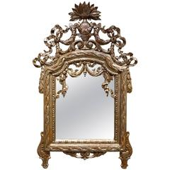 Louis XVI Mirror in Carved Wood and Silver Plated Wood, 18th Century